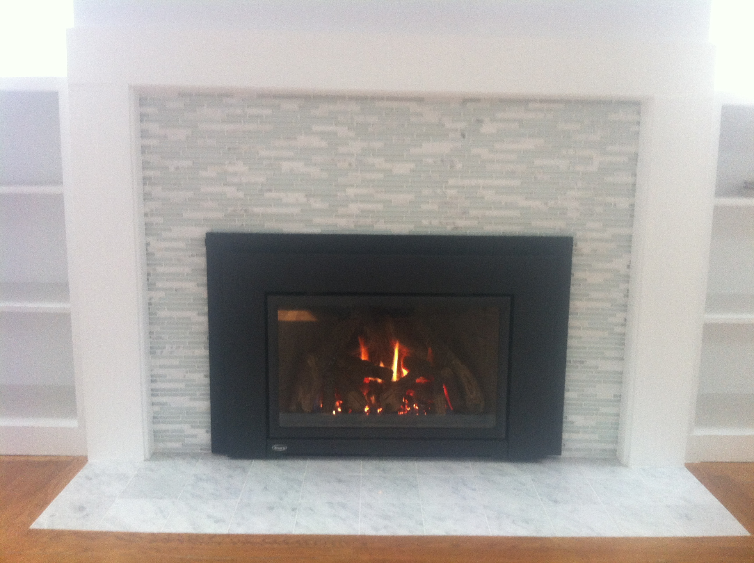 gas pin finish tiled in with fireplace legend custom installed installation corner masonry insert valor